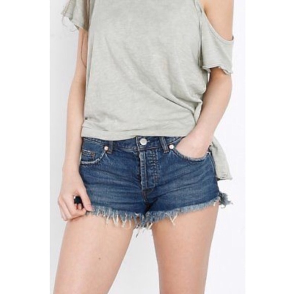 Free People Ocean Blue Soft & Relaxed Denim Shorts